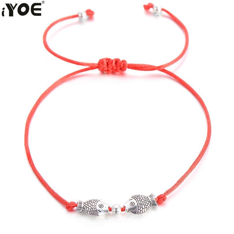 IYOE ручные браслеты на удачу с красной нитью для женщин мужчин детей Рыба лист сердце Дерево Слон ракушка единорог животные желания