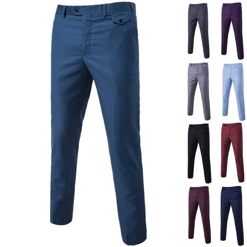 Pantalones De Vestir Elegantes Para Hombre Pantalon Largo Recto De Color Solido Ropa Formal Ajustada 2021 Pantalones De Traje Aliexpress