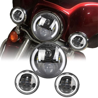 60W 7LED Durable Projector LED Headlight with Turning Sign DRL plus 4.5 Halo Ring Fog Light for Heritage Softail Classic