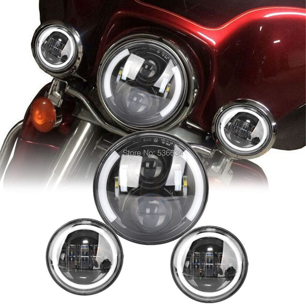 1 Set Black 7 Inch Half Angel Eyes LED Headlight And 4 5 Inch Fog Lights