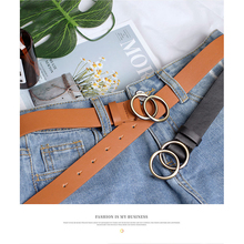 2019 new European and American cross-border round buckle belt women casual ladies jeans with fashion dress
