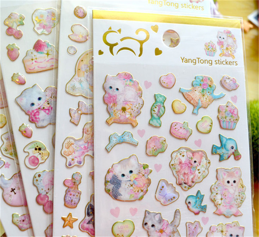 1 Pcs/pack Kawaii Stationery Stickers Cat 3D Gold Diary Planner Decorative Mobile Stickers Scrapbooking DIY Craft Stickers