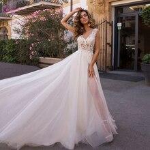 Waulizane tiul i Organza bufiasta spódnica plażowa suknia ślubna z Backless z naturalnej talii