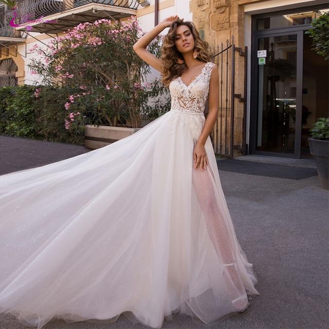 Waulizane טול ו אורגנזה נפוחה חצאית חוף חתונת שמלה עם ללא משענת של טבעי היקף מותניים