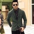 2016 homens casuais malha terno blazer negócios magro traje homme masculino blazer masculino ternos de lã vintage jacket brasão one button