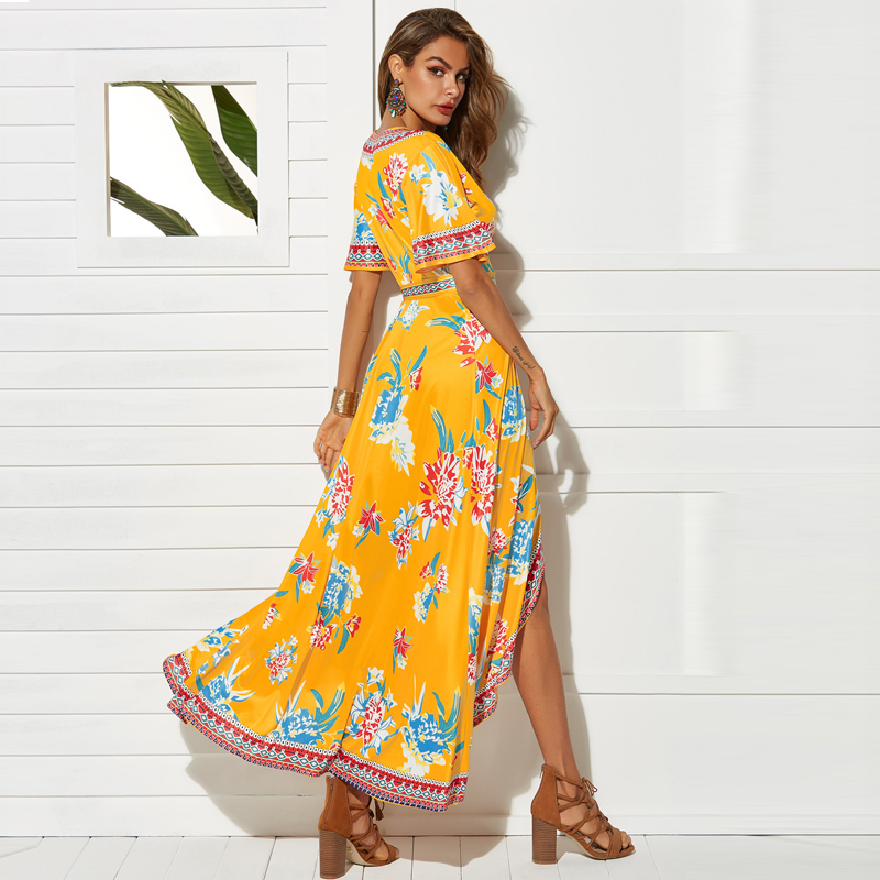 VITIANA Women Casual Long Dress Summer Female 2019 Print Floral Yellow Sleeve V-Neck Empire Beach Sexy Party Dresses Vesdios