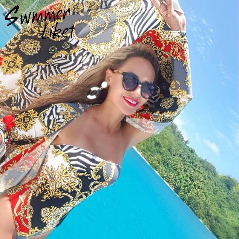 996d57ec469d Vintage estampado Vestido de playa Mujer sarong de moda de verano ropa de  playa traje de baño cover up 2019 túnica las mujeres kaftan cubierta -ups