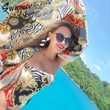 Vintage print lange strand kleid frauen sarong Sommer mode strand tragen badeanzug cover up 2019 Tunika für frauen kaftan abdeckung -ups