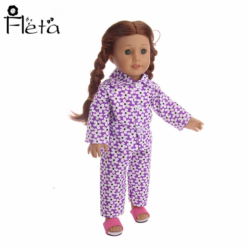 Floral Pajamas for 18 inch American Girl Dolls