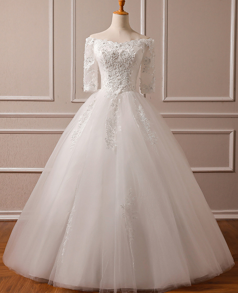 Half Sleeves Lace Ivory Boat Neck Wedding Dresses For