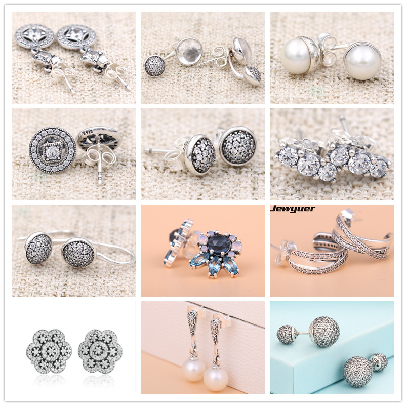 925 Sterling Silver Vintage Allure Stud Earrings for women Autumn collection earings brinco fine jewelry Jewyuer