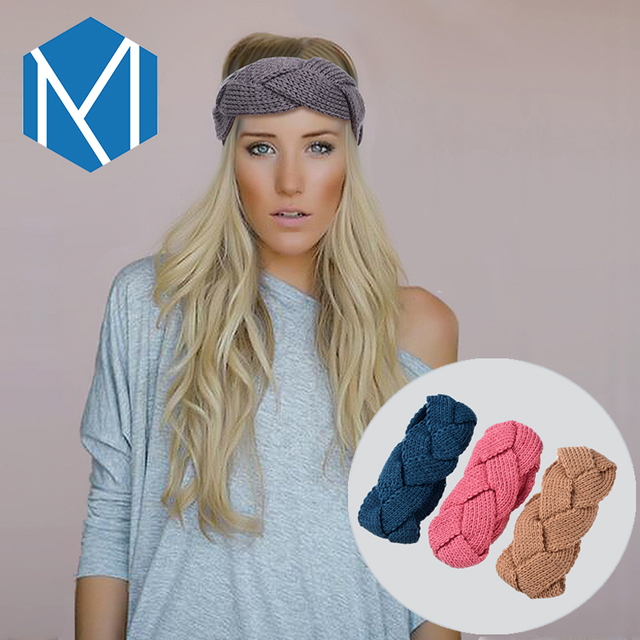 C Mism 8 Patterns Solid Warm Knitted Headband Elastic Hair