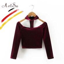 ArtSu, сексуальная велюровая женская футболка с открытыми плечами, топы с чокером, с длинным рукавом, бюстье, укороченный топ, женские футболки с вырезом-лодочкой, топы в стиле 90, ASTS20103