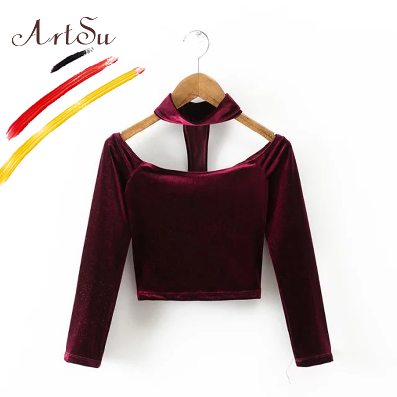 ArtSu Sexy Off Shoulder Velour Women T-shirt Choker Tops Long Sleeve Bustier Crop Tops Women Slash Neck Tees 90s Tops ASTS20103