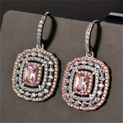 ياردروب أقراط للنساء s925 فضة توباز مزاجه أنيقة الأبيض والوردي ديامانت زفاف brincos المجوهرات الجميلة