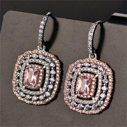Eardrop Earrings For Women S925 Sterling Silver Topaz Temperament Elegant White & Pink Diamant Wedding Brincos Fine Jewelry