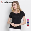 Silk women T shirt 100% Natural silk basic shirt Short sleeve solid women top 2016 new white black