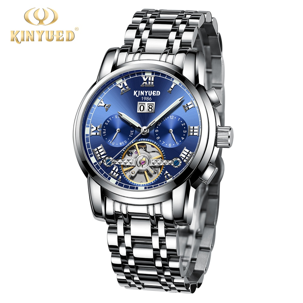 Kinyued Blue Dial Stainless Steel Mechanical Wrist Watches Skeleton Tourbillon Mechanical Watch Automatic Men Classic J014G paradise 2016 classic new men black skeleton automatic mechanical stainless steel wrist watch free shipping may23