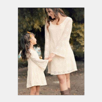 2018 New Spring Autumn Fashion Sweet Horn Sleeve Lace White Dress Mom and Me New Year Dresses for Mother & Daughter
