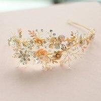 Elegant Wedding Bridal Tiara Crown Gold Color Hair Jewelry European Design Headpiece Accessories For Women Party