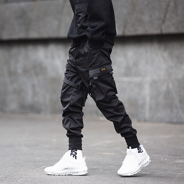 Men Ribbons Color Block Black Pocket Cargo Sweatpant Hip Hop Trousers 4