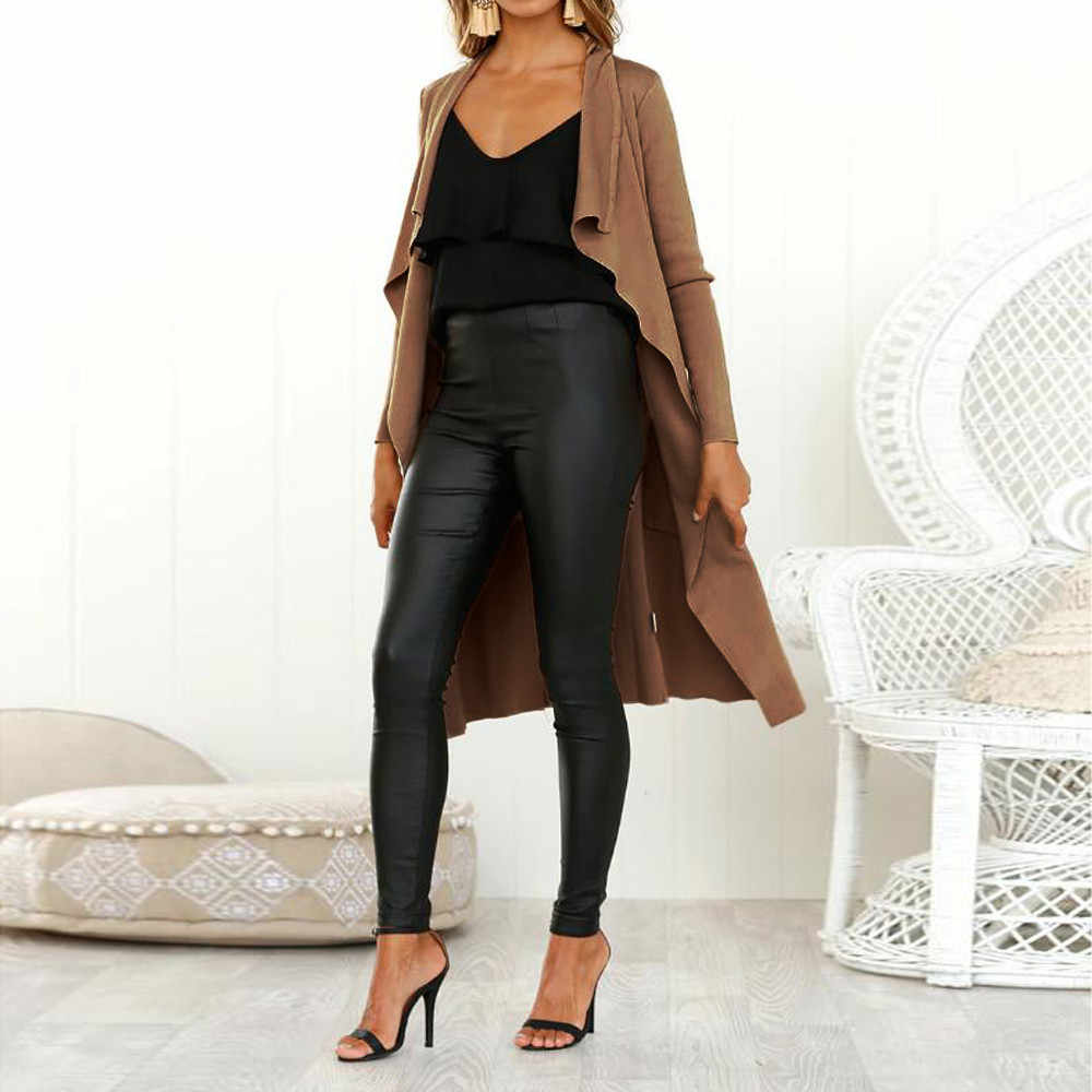 Feitong skórzana kurtka damska z długim rękawem skórzana otwarta przednia krótki kardigan garnitur plus rozmiar skórzana kurtka jednolity długi płaszcz jaqueta