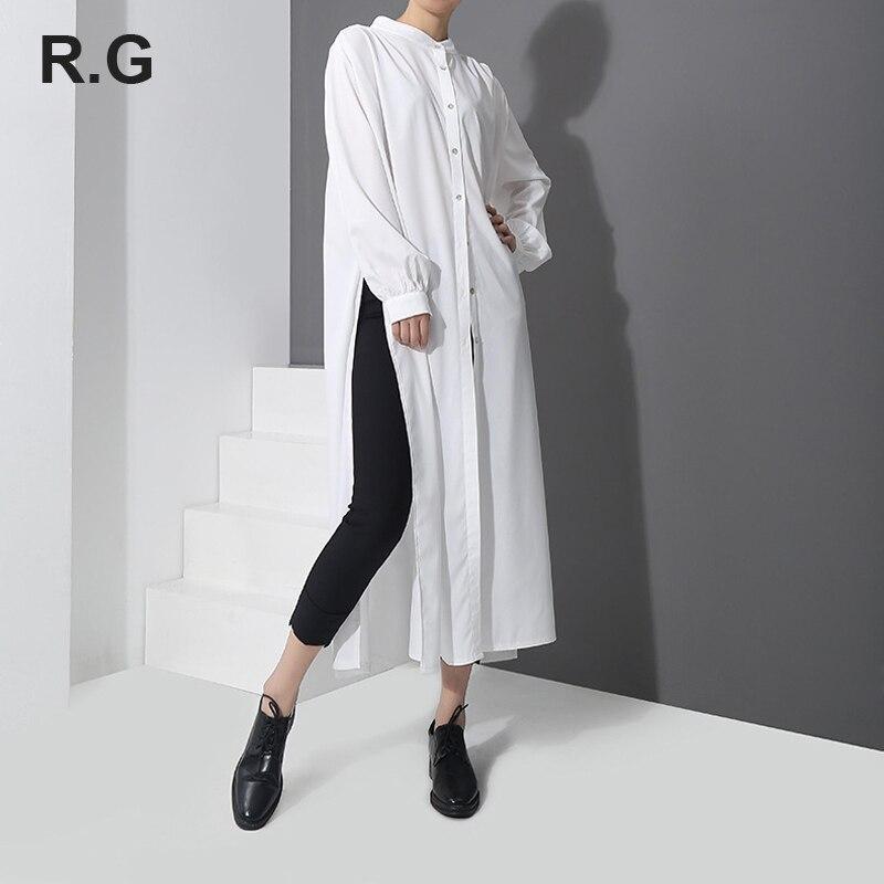 RG robe Style longues chemises Blouse grande taille femmes manches longues hauts et chemisiers blanc noir chemise printemps été blusas femininas