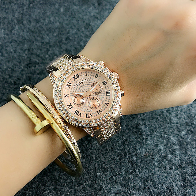 2018 New Fashion Luxury Brand Women Dress Watches Rosy Gold Ladies Diamond Quart