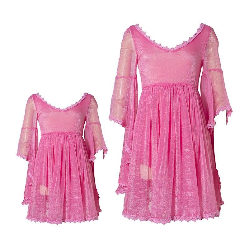 Vacances famille correspondant mère fille robes vêtements mode rose maman et fille robe parent enfant tenues plage robe