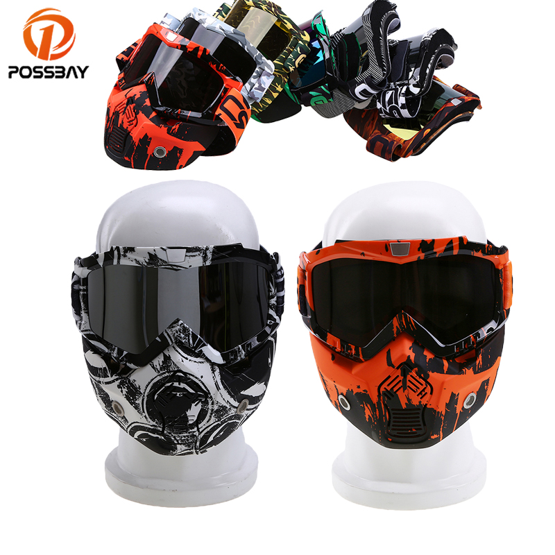 POSSBAY Motorcycle Face Mask Dust Mask&Detachable Motorbike Goggle Mouth Filter for Cafe Racer Modular Open Face Helmet Gafas