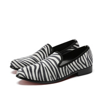 Fashion Men's Shoes Slip on Zebra Stripe Prom Daily Footwear Style Casual Shoes for Men