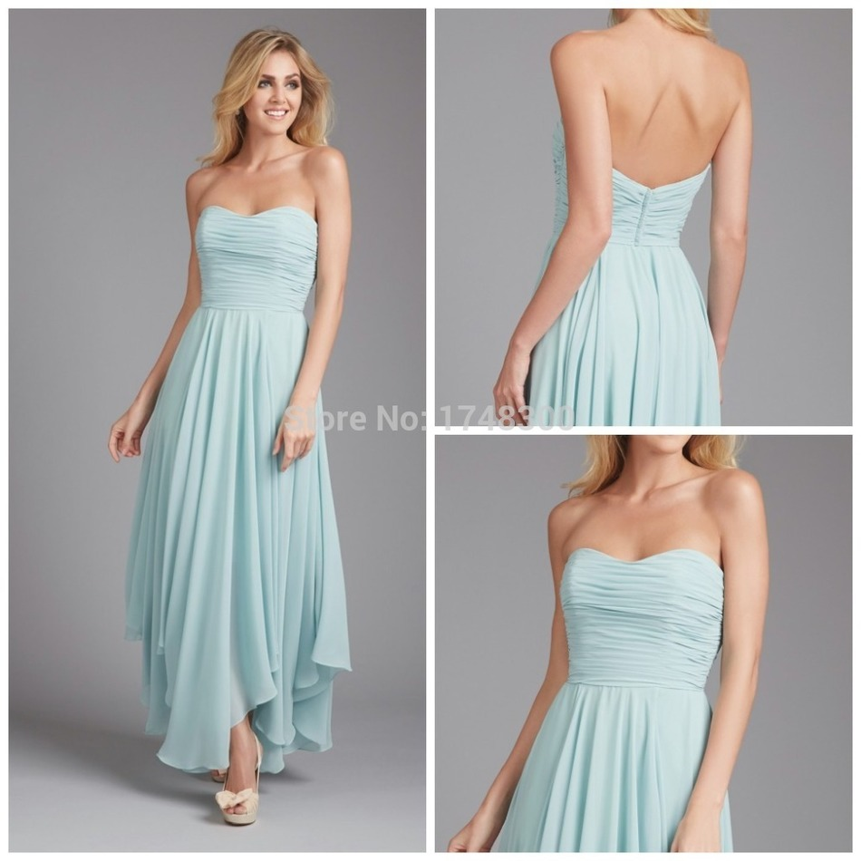 Under 100 Cheap Ankle Length Strapless A Line Bridesmaid Dresses ...