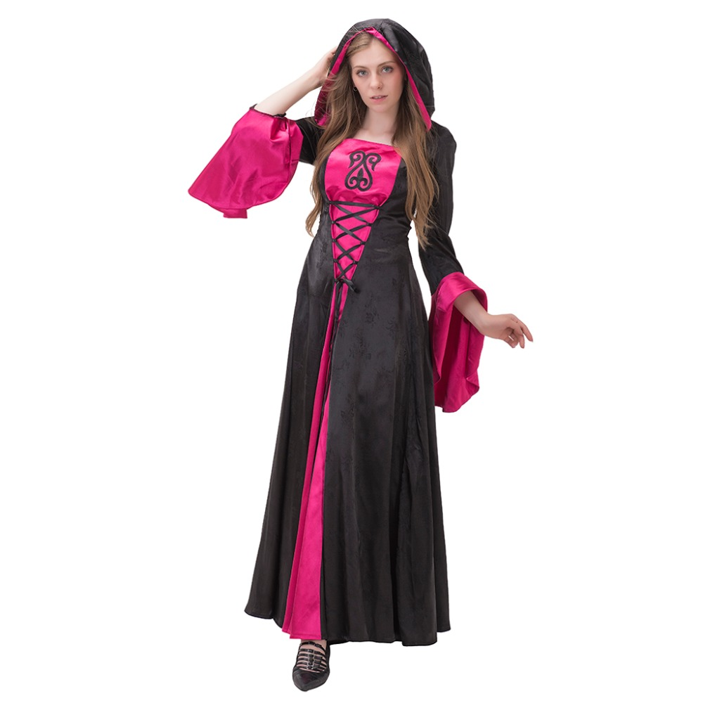 Lady's Masquerade Ball Dress Medieval Renaissance Wedding Ball Gown Vampire Black&Red Hooded Cosplay Dress