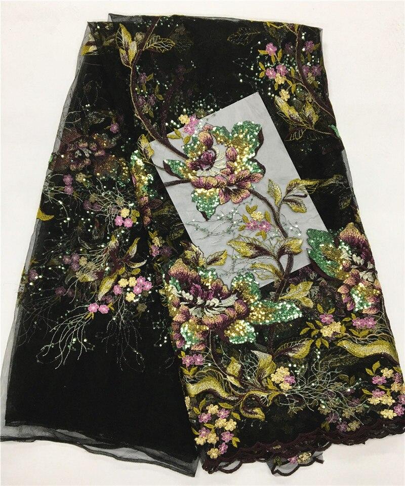 Tela de encaje de tul francés negro lentejuelas bordadas tela de encaje de Red Africana venta al por mayor 2017 alta calidad para Nigeria boda JLN34-in encaje from Hogar y Mascotas    1