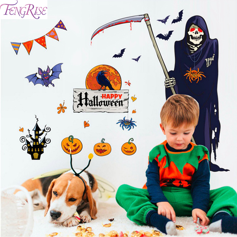 FENGRISE Halloween Wall Sticker Bloody Hands pumkin Grim Reaper Party Decoration Horror Decor Supply