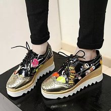 2017 NEW women shoes muffin heavy-bottomed CreepersPlatform Shoes Women Flats Lace Up Creepers women casual Shoes superstar 123
