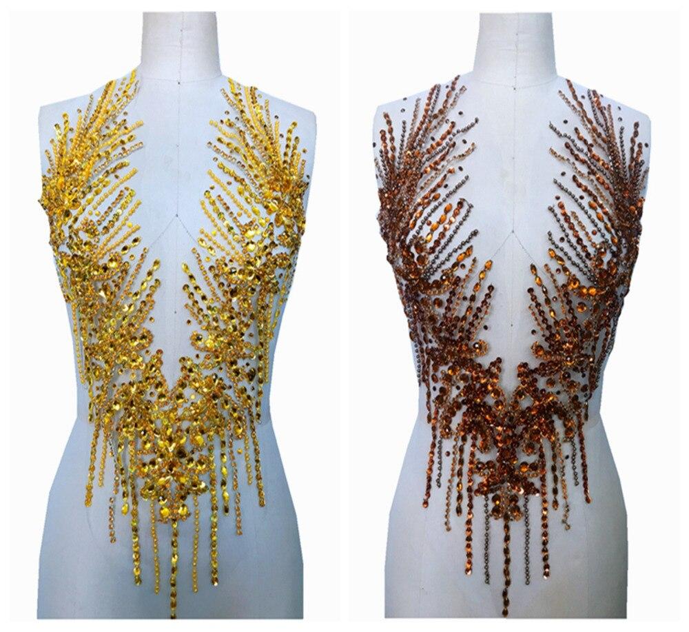 Чистый ручной работы Золотой/коричневый пришить стразы аппликация на сетки патчи обрезки 57*32 см аксессуар для платья
