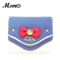 Samantha Vega Sailor Moon Wallet Women Lady Short Wallets Purse Female Candy Color Bow Knot PU