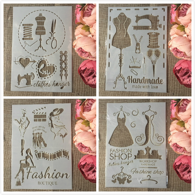 4Pcs/Set A4 Sewing Fashion Clothes DIY Layering Stencils Painting Scrapbook Coloring Embossing Album Decorative Template