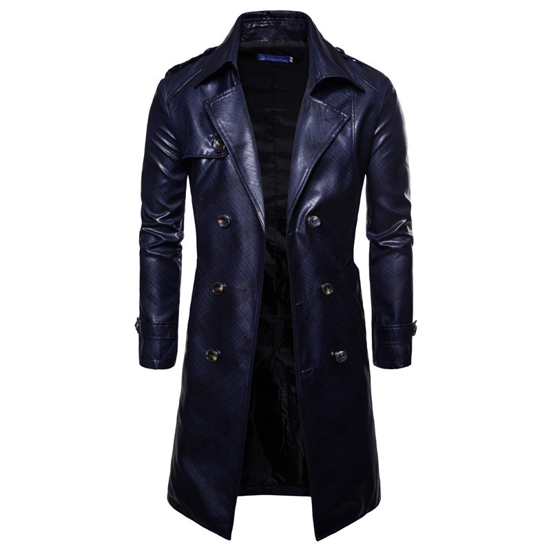 Men Trench Coat Homme  Mens New Fashion Long PU leather Trench Coat Autumn Long Jacket For Men Slim Fit Winter Warm Coat Mens 5