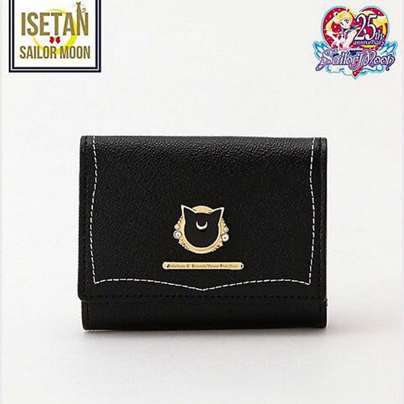 Anime Sailor Moon 25th Anniversary Luna Purse Women Short Wallet Candy Color Black White Cat Purse Fashion Girl Card Coin Bag цена