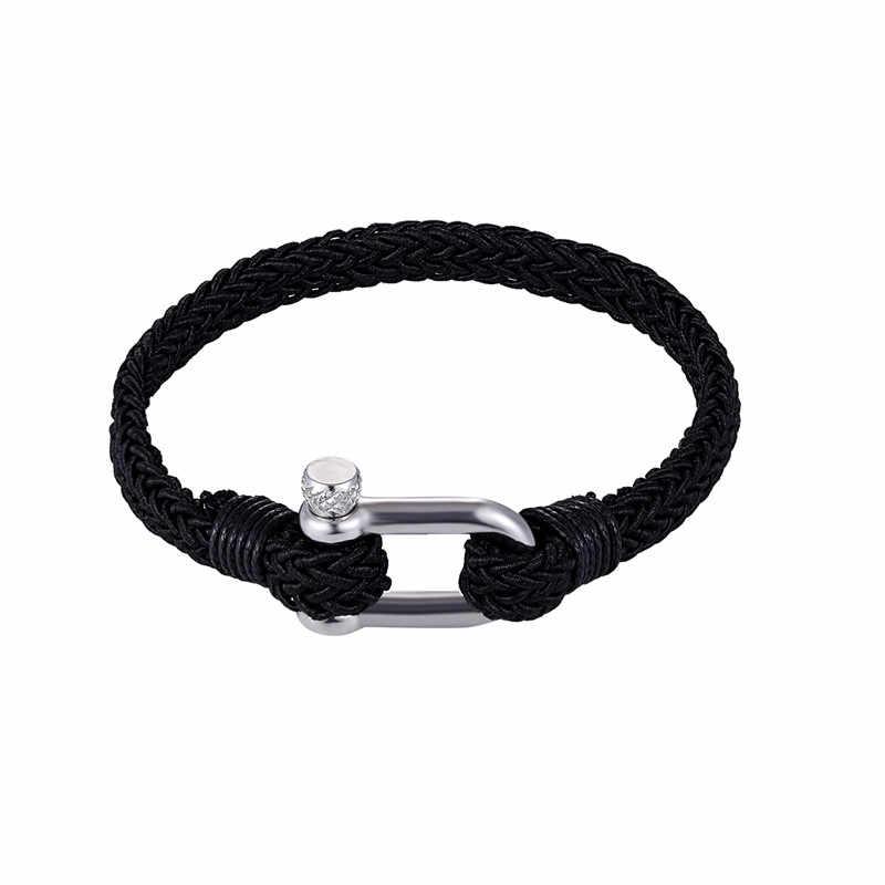 New Arrival kolor tkane liny ze stali nierdzewnej wielowarstwowe liny bransoletka kotwica przetrwanie bransoletki dla par mężczyźni kobiety prezenty Pulseras