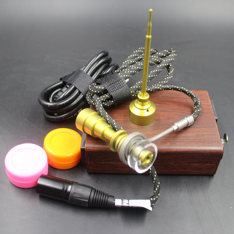 Kits d'enail électrique Dab or Quartz titane clou or bouchon de carbu Dab Silicone pot avec bobine de chauffage pour tuyau de verre cadeau de noël