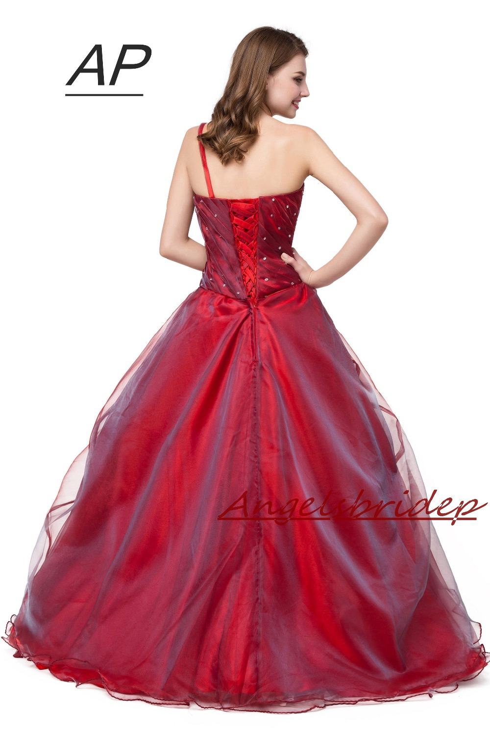 Image 2 - ANGELSBRIDEP Quinceanera Dress Red Vestidos De 15 Anos Sexy One  Shoulder Masquerade Ball Gowns Formal Party Gowns 2020 Hot Saleball  gown formalmasquerade ball gownsquinceanera dresses red