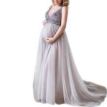 7c3d5e3c58 Sexy verano nueva moda mujeres embarazadas Sling V cuello de cóctel de  lentejuelas Maxi largo vestido de fiesta vestido diario v.