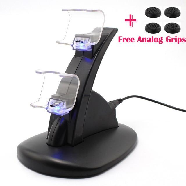 LED Dual USB Estação de Carregamento Cradle Doca Suporte para Sony Playstation 4 PS4 Game Controller Gaming + Free Analog Thumbstick apertos