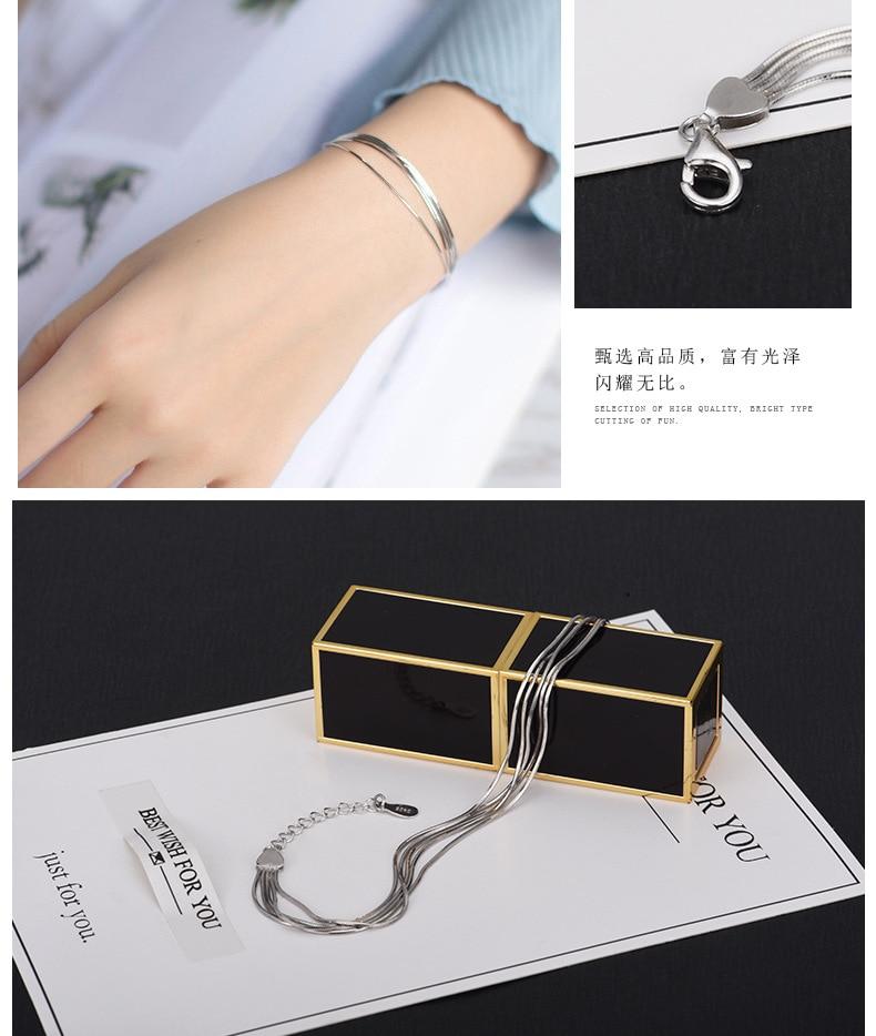 2018 New Simple Multilayer Tassel Snake chain Bracelet Genuine 100% 925 Sterling Silver jewelry for women chrismas gift