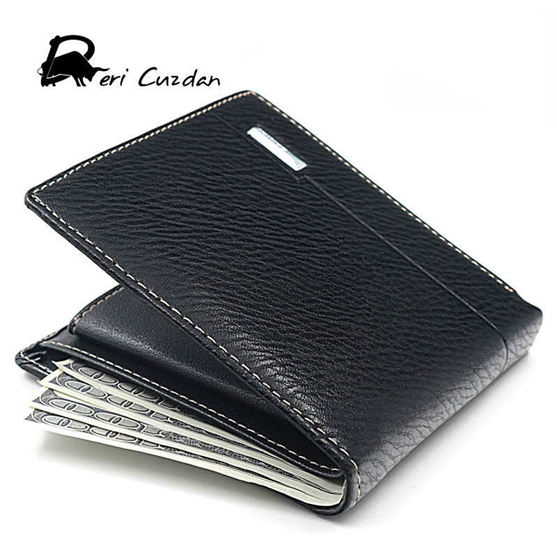 DERI CUZDAN Famous Luxury Brand Genuine Leather Men Wallets Coin Pocket Zipper Mens Leather Wallet with Coin Purse Portfolio Men genuine leather mens wallet black hasp men purse with zipper coin pocket portfolio male short card holder vertical men wallets