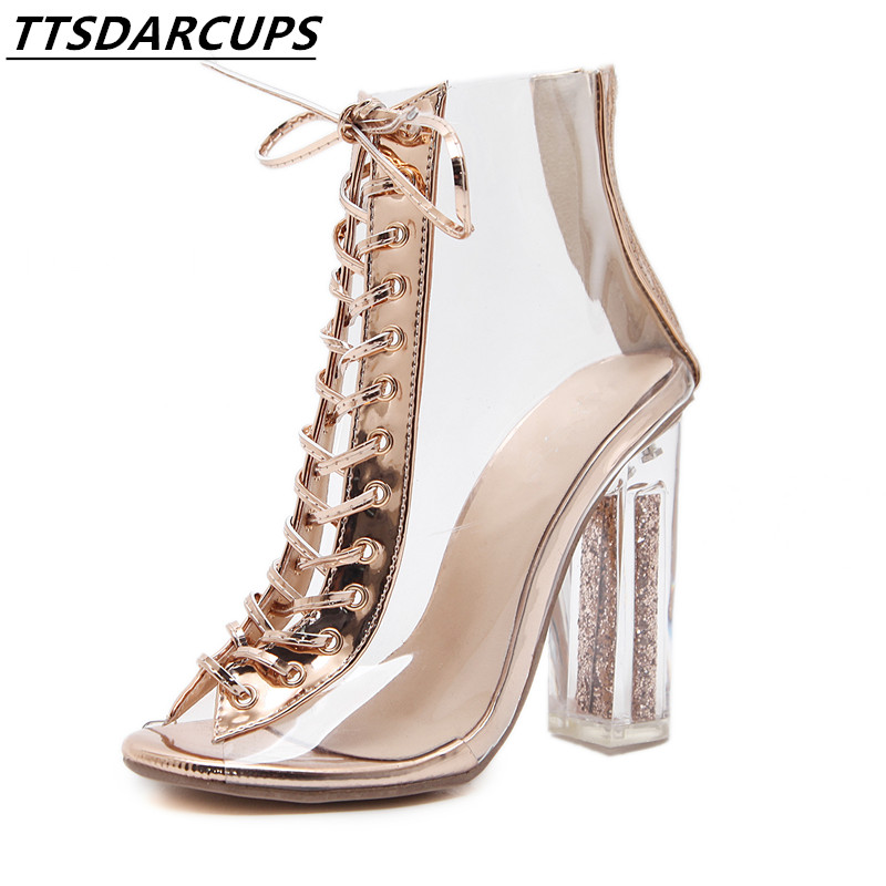 TTSDARCUP fashion  Transparent straps crystal high-heeled shoes Cross strap Fish mouth sexy High heel cool boots Female pump