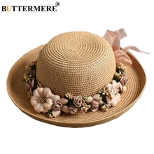 BUTTERMERE Flower Sun Hat Ladies Elegant Stylish Beach Fedora Womens Summer Spring Hawaiian Korean Style Bowknot Straw Hats